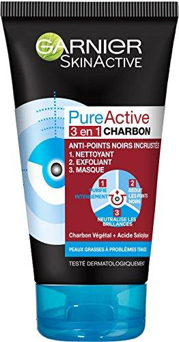 Garnier SkinActive - Nettoyant 3 en 1 Charbon Anti-Points Noirs Incrustés PureActive- 150 ml
