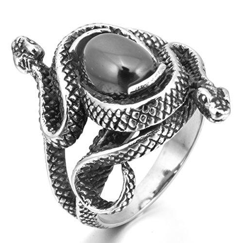 MunkiMix Acero Inoxidable Anillo Ring Ágata El Tono De Plata Negro Serpiente Snake Hueco Filigree Filigrana Abierto Talla Tamaño 20 Hombre