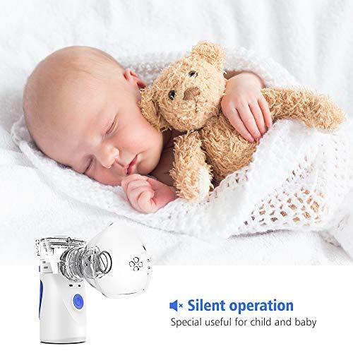 514a7snt8dL - NWOUIIAY Nebulizador Portátil Inhalador Eléctrico Silencioso Cable USB Recargable para Adultos y Niños