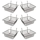 Econoco Multi Fit Black Small Wire Basket for Slatwall, Grid of Pegboard, Commercial All Purpose Basket, (Pack...