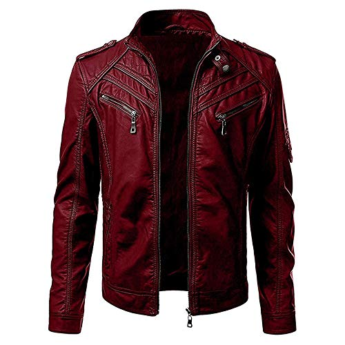 Esobo Men's Faux Leather Jacket Casual Zipper Long Sleeve Motorcycle Suit Bomber Coat (red,Large)