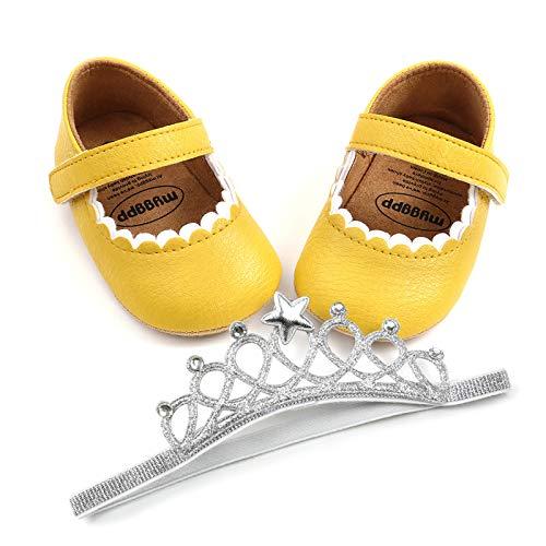 Berimaterry Zapatos de Bautizo de Princesa Antideslizantes para bebé niña Zapatos Bebe Primeros Pasos para Niños 0-18 Meses Zapatos de comunion niñas bebé Bota con Venda Corona 2 PC Merceditas