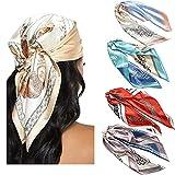 WELROG 4 PCs Pañuelos Cabeza Mujer Bandanas 60 * 60cm Pañuelo de Seda Similar a La Cabeza para Mujer BandanasBufanda de Pelo Manchado Bufanda de Cuello (Serie 1)