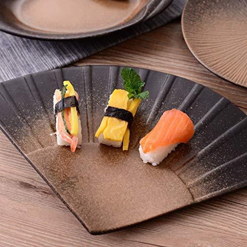 WCS Schale Keramik Rind Curry Dekoschale Retro Grill Fischteller Sushi Sashimi Teller, C, -