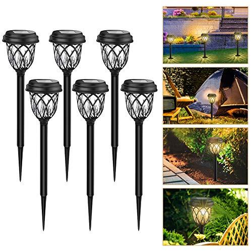GEEDIAR Solarleuchten Außen - 6er Solar Gartenleuchten Warmweiß wasserdichte LED Deko Solarlampe für Terrasse, Garten, Dämmerung bis Morgengrauen Auto Ein / Aus