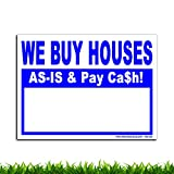 VIBE INK We Buy Houses AS-is & Pay Cash - 24x18 Large - 50(Fifty) Bandit Signs for Real Estate Investing - Plastic, Single-Sided Print - Waterproof, Vertical Flutes, Made in America! (Blue)