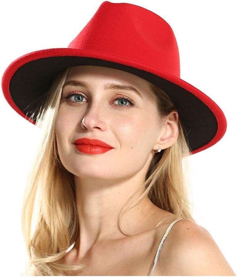 No-branded Red Wool Jazz Fedora Hat for Women Winter Outdoor Hat Wide Brim Hat Fascinator Retro Wide Hat Size 56-58CM ZRZZUS (Color : Red, Size : 56-58)