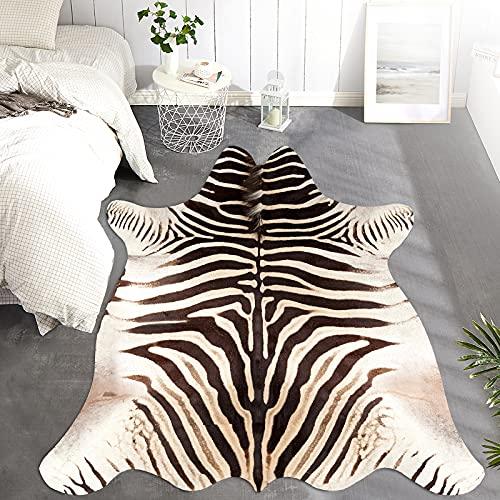 JINCHAN Zebra Print Area Rug Faux Skin Cowhide Animal Design Mat Safari Rug Indoor Floorcover for Bedroom Living Room 6x7 Safari Design