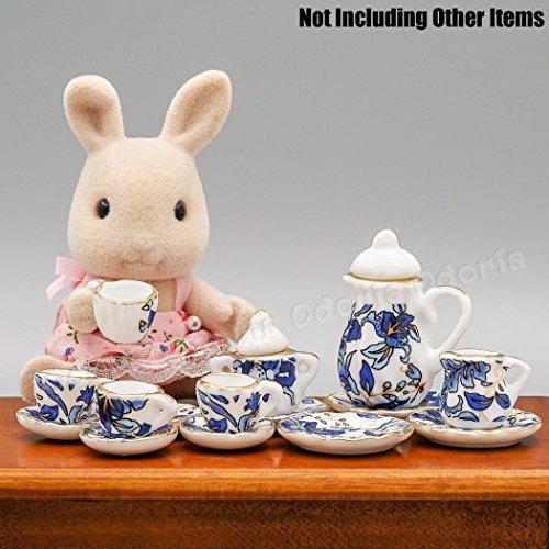 Odoria 1:12 Miniature 15PCS Blue Porcelain Chintz Tea Cup Set with Golden Trim Dollhouse Kitchen Accessories