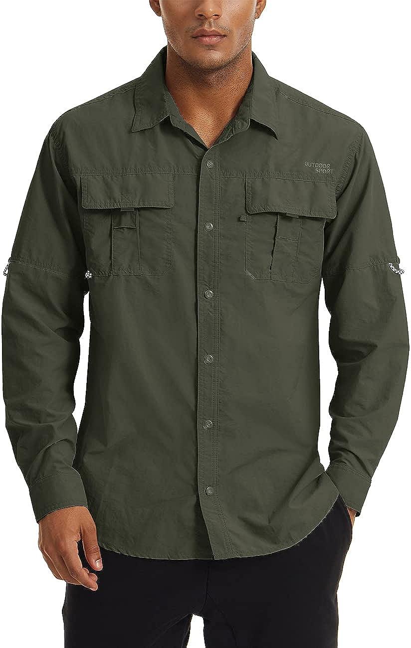 CRYSULLY Men's Long Sleeve Safari Shirts Button Down Work Quick Dry Tactical Shirts