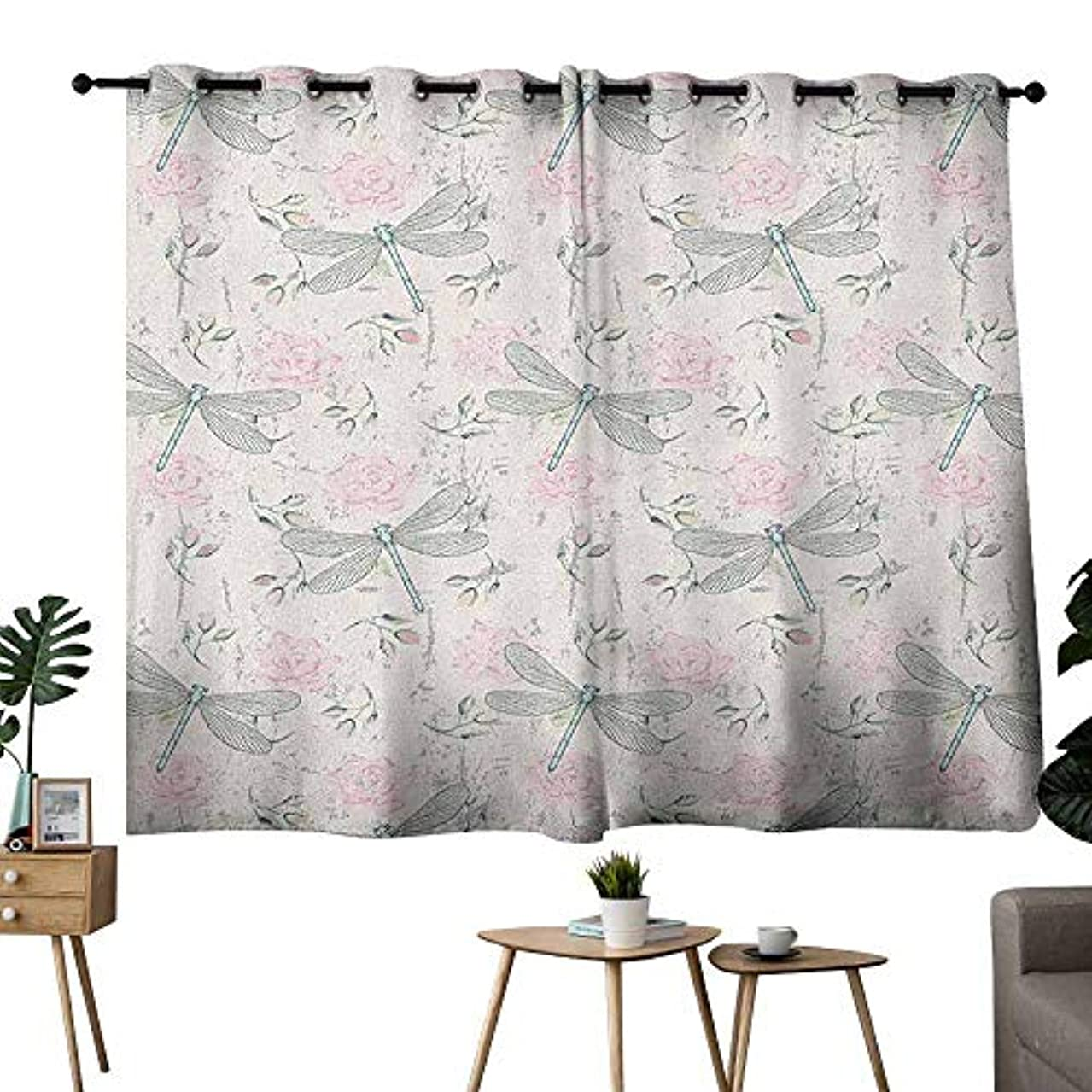 Mannwarehouse Dragonfly Thermal Curtains Shabby Chic Roses Worn Old Vintage Backdrop with Moth Bugs Print Privacy Protection 55