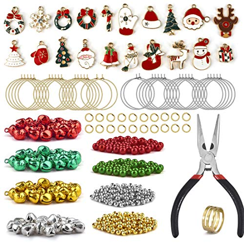 in budget affordable DROLE Christmas wine pendant bead set with tool 472 pieces round bead ring Christmas bell…