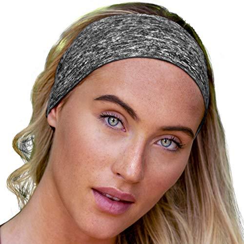 E Tronic Edge UNISEX Stirnband Damen und Herren | Schweißband mit Anti-Rutsch-Streifen | Sport Stirnband für alle Kopfgrößen (Grau)