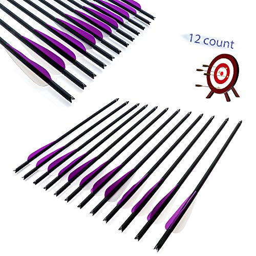 JY-Sports Crossbow Bolts 16'' Inch Archery Hunting Arrow Game Arrow Shaft and Target Arrow Shaft Replaceable Tips for Crossbow 12Pcs/Box