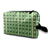 Art Nouveau8-green_440 - Bolsa de maquillaje portátil para mujer (10 x 12,7 x 15,7 cm)