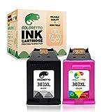 COLORETTO Druckerpatronen kompatibel für HP 303XL für HP Envy Photo All-in-One-Drucker 6220 6230 6232 6234 7130 7134 (1 Schwarz,1 Farbe)