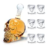 Amzdeal Skull Glas Flasche, Totenkopf Flasche 350ml mit 6 Schädel Gläser 75ml, Schädelflasche mit...