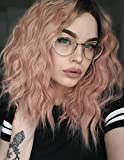 K'ryssma Short Bob Wavy Lace Front Wigs for White Women Orange Pink Ombre Dark Roots to Mixed Pink...