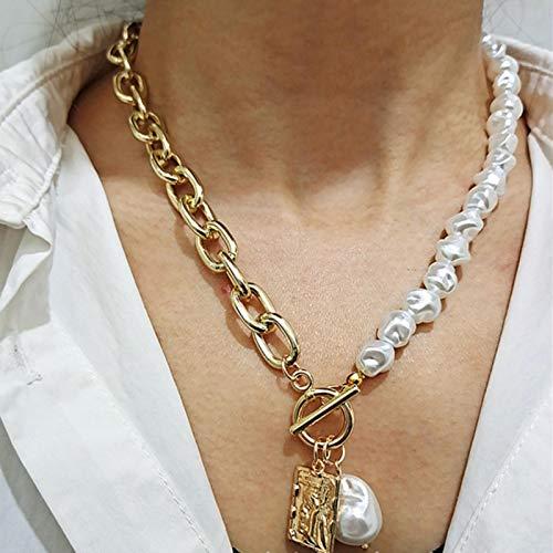 WDam Collar de Cadenas de Bloqueo de Perlas Irregulares barrocas Vintage Colgante de ángel geométrico Collares de Amor para Mujeres Punk, Dorado