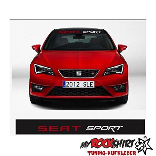 myrockshirt Seat Sport Plus Blendstreifen 130cm Sonnenschutz Scheibe Aufkleber Frontscheibe Aufkleber Tuning Scheibe Lack TYP-MRS215