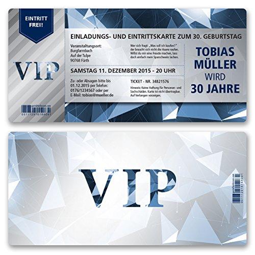 (10 x) Einladungskarten Geburtstag VIP Party Edel Blau Ticket Karte Einladungen