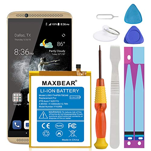 ZTE Axon 7 Battery, (Upgraded) MAXBEAR 3300mAh Li-Polymer Built-in Battery Replacement for ZTE Axon 7 A2017 A2017U ZTE Grand X4 Z956 Li3931T44P8h756346 with Repair Tool Kits