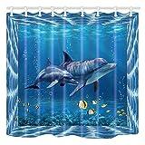 Shocur Delphin Duschvorhang, Blue Dream Sea World, Cute Tropical Ocean Yellow Small Fish, 183,9 x 183,9 cm Kinder Thema Badvorhang, Polyestergewebe Badezimmer Dekor Set mit 12 Haken