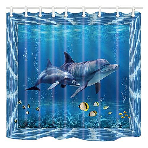 Shocur Dolphin Shower Curtain, Blue Dream Sea World, Cute Tropical Ocean Yellow Small Fish, 72 x 72 Inches Kids Theme Bath Curtain, Polyester Fabric Bathroom Decor Set with 12 Hooks