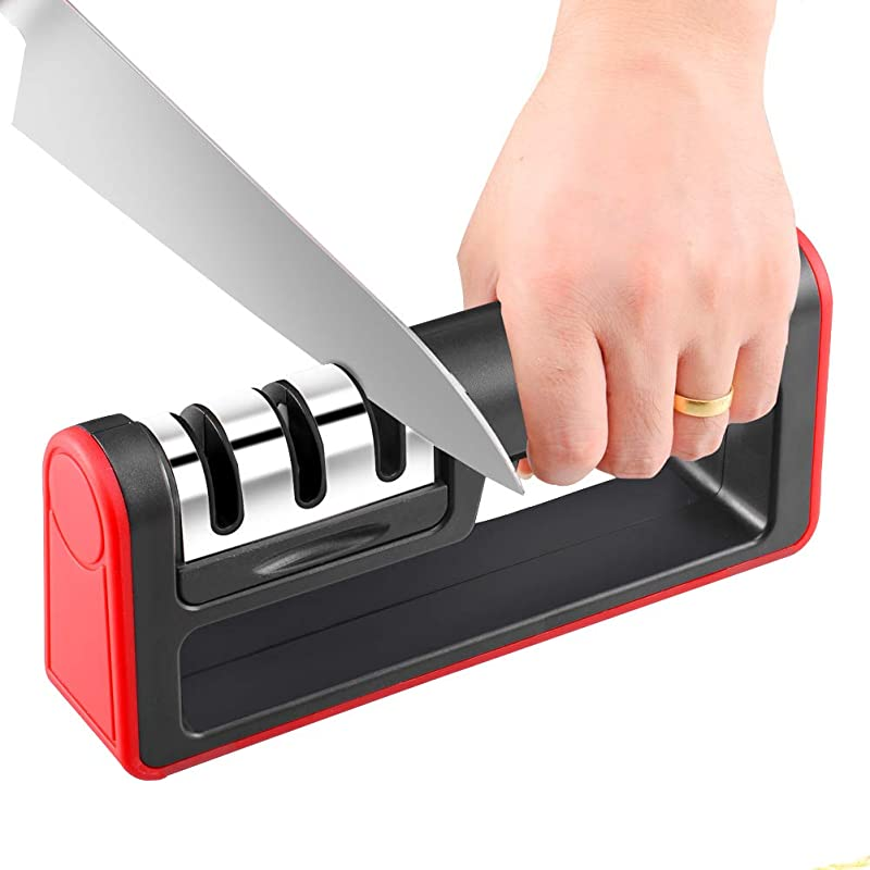 Knife Sharpener 3 Stage Knife Sharpening System Quickly Sharpen Dull Knife Non Slip Base Kitchen Knife Sharpener Safe And Easy To Use By SONGUO