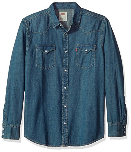 Levi's Men's Standard Barstow Denim Western Snap-Up Shirt, Authentic Stonewash with Tint, Large