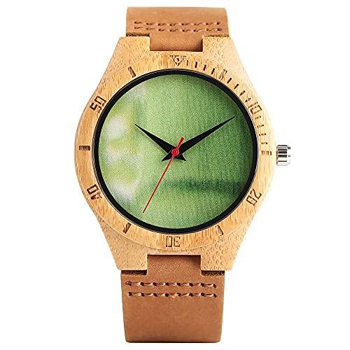 HYLX Reloj de Madera de Cuarzo de Moda para Hombres, Esfera Verde sin números, Relojes de Madera para niños, Correa de Cuero utilitario con Reloj de Pulsera con Hebilla para Adolescentes