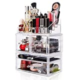 DreamGenius Makeup Organizer 3 Pieces Acrylic Cosmetic Display Cases with 4 Drawers for Jewerly Lipstick and Makeup Brushes, Stackable Makeup Storage Organizer Box for Dresser and Bathroom Countertop