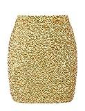 PrettyGuide Women's Sequin Skirt Stretchy Bodycon Shiny Mini Skirt Club Skirt M Gold