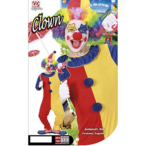 Amakando Disfraz de payaso infantil de arlequín, 128 cm, 5-7 años, disfraz de payaso, mono de payaso, disfraz infantil, carnaval, circo, narra, para cumpleaños infantil