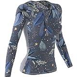 SMMASH Winter Leaves Sportiva Magliette Donna Manica Lunga, Yoga, Crossfit, Camicia Funzionale Top da Palestra, Gym Home, Materiale Antibatterico, Prodotto nell'Unione Europea (S)