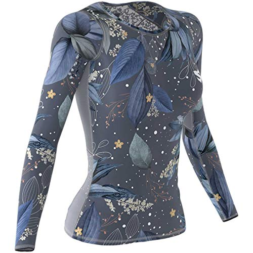 SMMASH Winter Leaves Womens Long Sleeve Compression Tops, Breathable and Light, Functional Thermal Shirt for Crossfit, Fitness, Yoga, Gym, Running, Sport Long sleeved, Antibacterial Material…