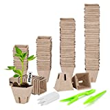 ANSUG 102pcs macetas de Semillas biodegradables de 6 cm, Macetas de Semillas de Fibra con 20 Etiquetas de Plantas para Plantas, Flores, Vegetales