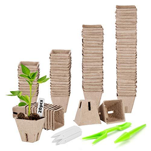 ANSUG 102 Stck Abbaubare Anzuchttöpfe, 6cm Saatgut-Sämlingstöpfe Pflanztöpfe Blumentöpfe mit 20 Stück Pflanzenetiketten für Pflanzen, Blumen, Gemüse