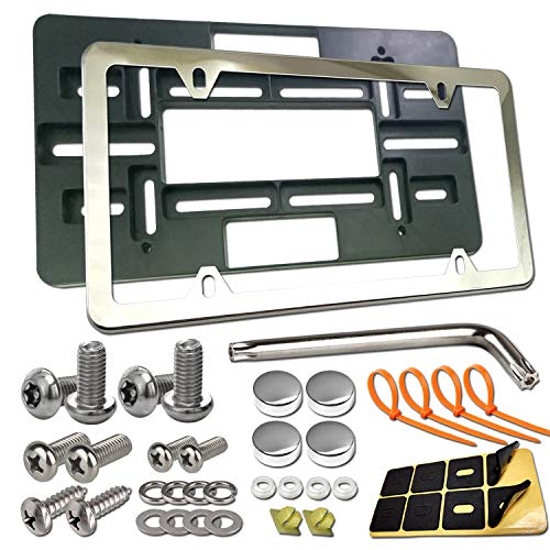 Aootf Front License Plate Bracket- Universal Front Bumper Plate Mounting Kit, Car Tag Holder Adapter& Stainless Steel Plate Cover, Anti-Theft Lock Screws, Caps, Nuts, for US Vehicle Trailer Truck