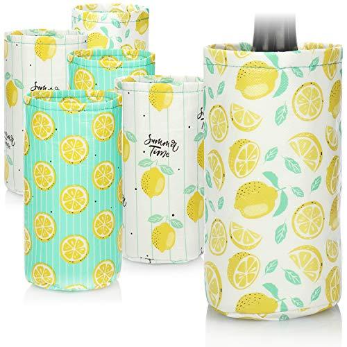 com-four® 6X Flaschenkühler, Kühlbehälter mit Zitronenmotiven, Isolier-Bottlebag zum Kühlen von Wein-, Sekt- und Wasserflaschen [Auswahl variiert]