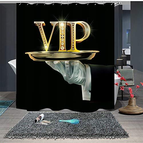 KKASD 3D Duschvorhang VIP Schimmelresistent Wasserdicht Badezimmer Vorhang Sichtschutz für Haus & Hotel 180 x 180 cm