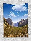 BONRI Yosemite Tapiz, Yosemite, El Capitán y el Half Dome en California Parques Nacionales Nos Verano de la Vista, para Colgar en Pared para el Dormitorio Salón Dormitorio Decoración, Verde,50'x60'