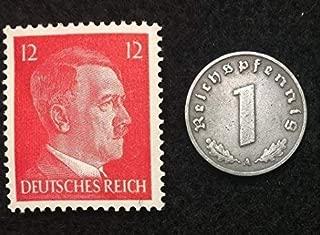 Rare Nazi Swastika 1 Reichspfennig German Coin World War Two WW2 with Hitler Head Stamp MNH