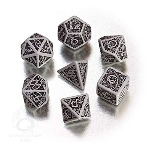 Toys 4 U 7777 Grey & Black Celtic 3D Dice Set by Q-Workshop for D&D RPG /Item# G4W8B-48Q17200