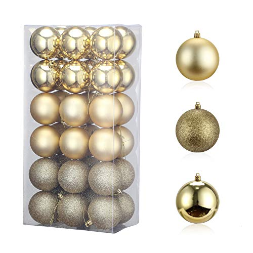 """36PCS 60mm/2.37"""" Christmas Ball Ornament, Shatterproof Christmas Decorations Tree Balls, Hanging Christmas Ornaments Baubles Set Hooks Included, for Holiday Wedding Party Decor Tree Ornaments, Golden"""