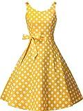 FAIRY COUPLE Vestido de fiesta Rockabilly de los años 50 con lazo, retro, con lunares - amarillo - X-Small