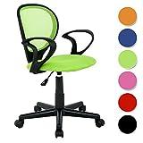SixBros. Bürostuhl,Schreibtischstuhl, Drehstuhl für's Büro oder Kinderzimmer, stufenlos höhenverstellbar, Schreibtischstuhl für Kinder aus Stoff, grün, H-2408F/1408