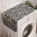 Ambesonne-Floral-Washing-Machine-Organizer-Lace-Gothic-Pattern-with-Flower-Effect-and-Leaves-Ornamental-Antique-Feminine-Design-Anti-slip-Fabric-Top-Cover-for-Washer-Dryer-47-x-185-Grey-Black