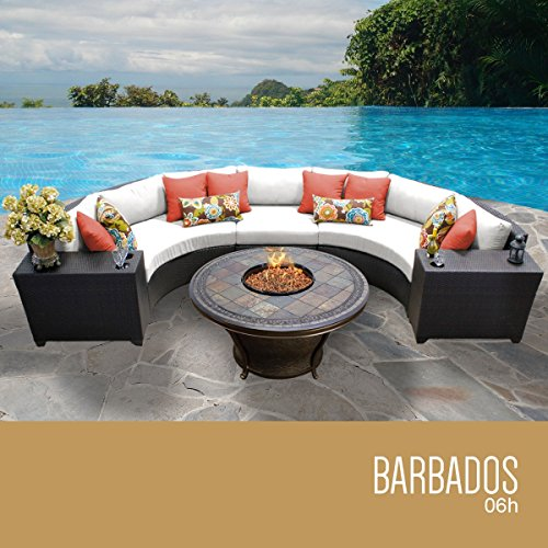 New TKC Barbados 6 Piece Patio Wicker Fire Pit Sectional Set in White