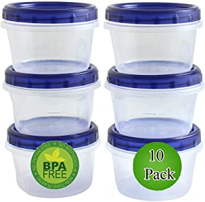 16 Oz Food Storage Containers with Screw And Seal Lid (10 Pack) Soup Container leak proof Airtight Stackable Reusable Microwave Safe BPA FREE